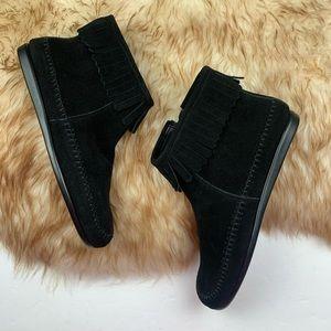 Aerosoles Fringe Suede Moccasin Ankle Boots Black